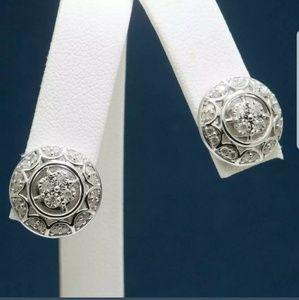 1.02 TCW GENIUNE DIAMOND EARRINGS IN .925